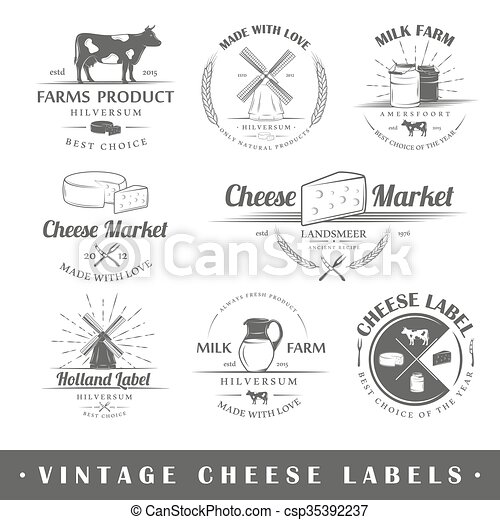 Set of vintage labels cheese - csp35392237