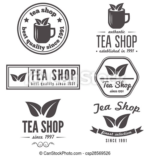 Set of vintage labels, emblems, and logo templates for coffee, tea ...