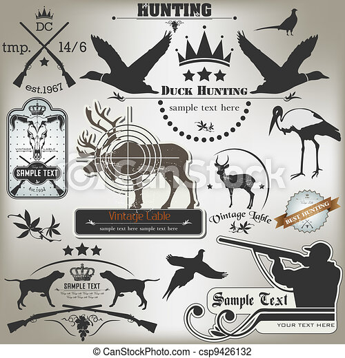 Set of vintage labels on hunting. - csp9426132