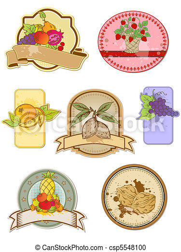 set of vintage labels with fruits - csp5548100