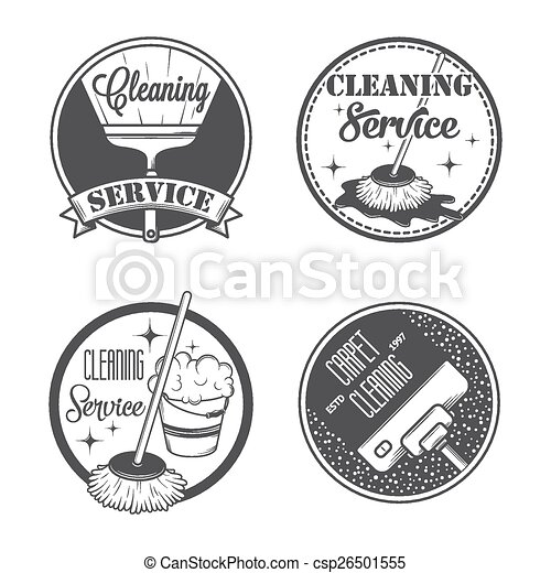 Set of vintage logos, labels and badges cleaning services - csp26501555