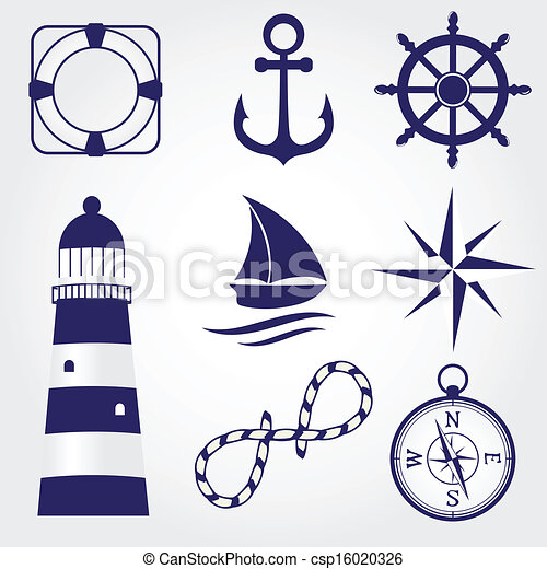 Set of vintage nautical labels, icons and design elements - csp16020326