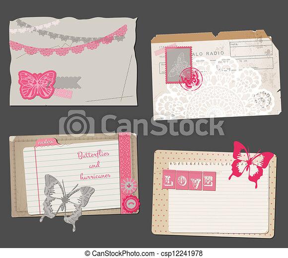 Set of Vintage Papers - for design or scrapbook - in vector - csp12241978