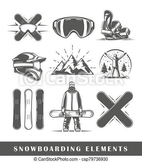 Set of vintage snowboarding labels - csp79736930