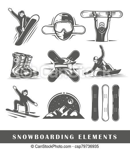 Set of vintage snowboarding labels - csp79736935