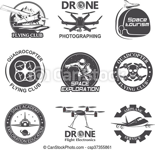 Set Of Vintage Space Drone Aeronautics Flight Emblems Labels Badges Vector