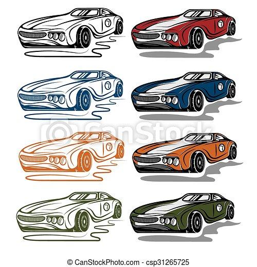 set of vintage sport car - csp31265725