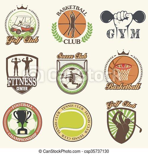 Set of vintage sports emblems - csp35737130
