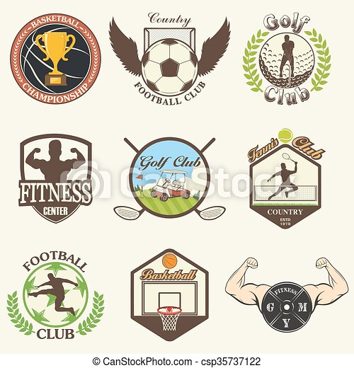 Set of vintage sports emblems - csp35737122