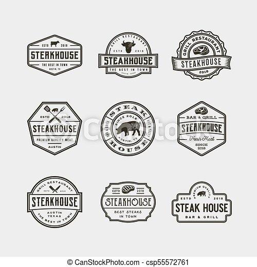 set of vintage steak house logos. vector illustration - csp55572761