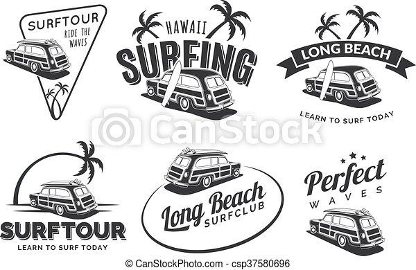 Set Of Vintage Surfing Car Labels Badges And Emblems Old School With Surfboard Vector Logo