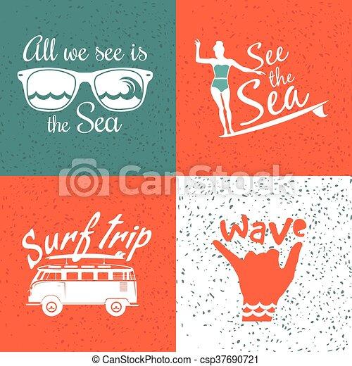 Set Of Vintage Surfing Logos