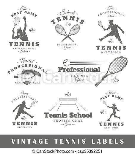 Set of vintage tennis labels - csp35392251