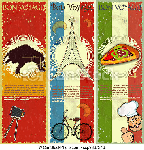 set of Vintage travel postcard - French, Italian and Spanish theme  - grunge style card - vector illustration - csp9367346
