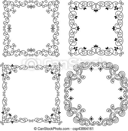 Set of vintage vector frames borders. Set of vintage vector frames ...