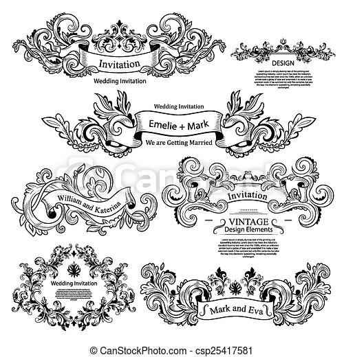 Set Of Vintage Victorian Ornaments Wedding Design Invitation