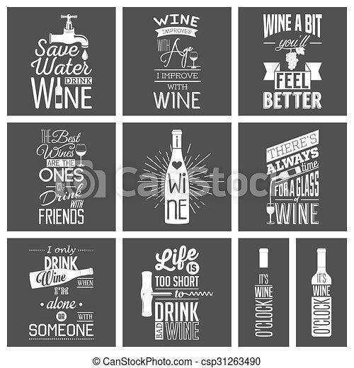 Set of vintage wine typographic quotes - csp31263490