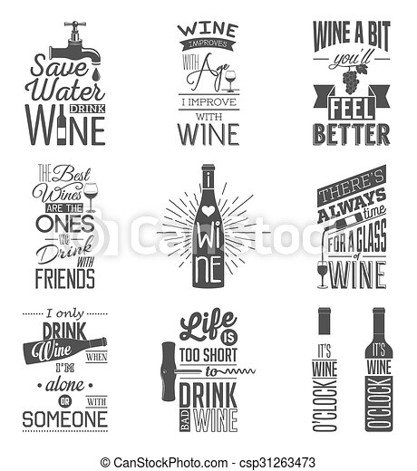Set of vintage wine typographic quotes - csp31263473