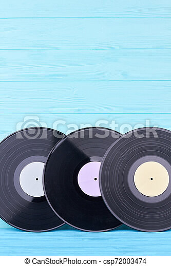 Set of vinyl records and copy space. - csp72003474