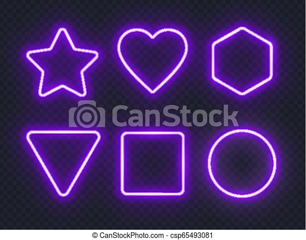 Set of violet glowing neon frames on dark background. - csp65493081