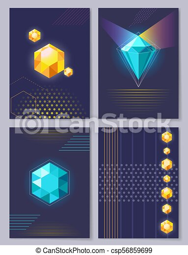 Set Of Wallpapers 3d Figures Vector Illustration