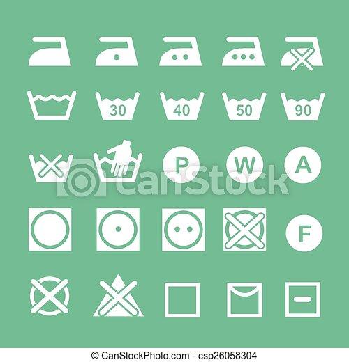 Set Of Washing Symbols Washing Instruction Symbols White