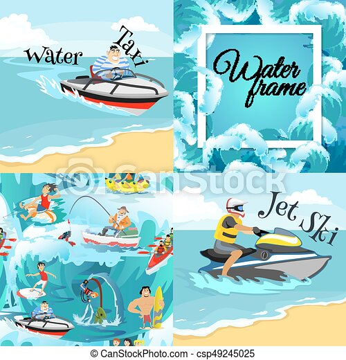 57e4abbf8b9 Set of water extreme sports backgrounds