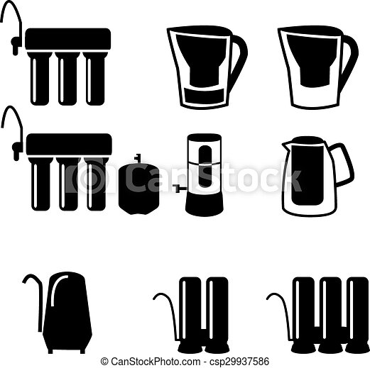 Water Filtration System Set Icons In Black Style Big Clip Art