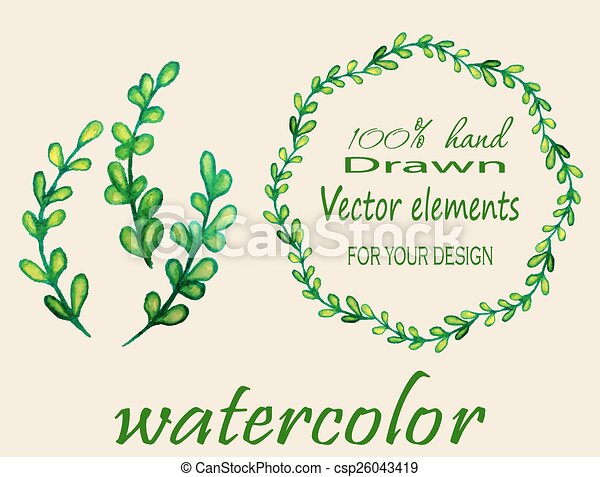 Set of watercolor branches. - csp26043419