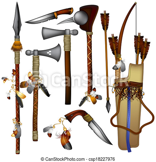 set of weapons American Indian