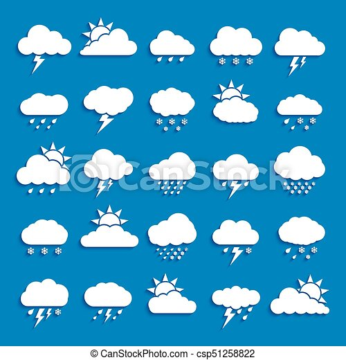 Set of Weather Cloud Icon White Color on blue background