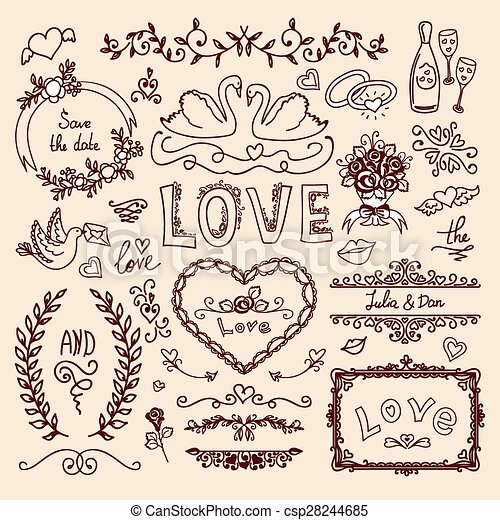 Set of wedding decorative elements set of wedding ornaments set of wedding decorative elements csp28244685 junglespirit Gallery