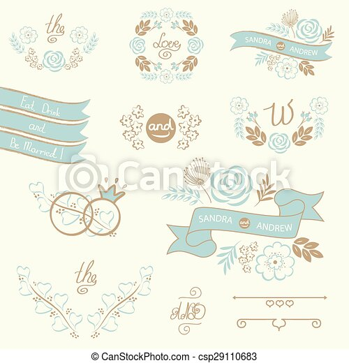 Set of wedding design elements - csp29110683