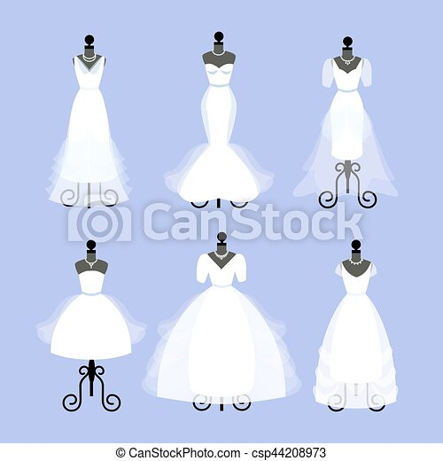 Set of wedding dresses. fashion gowns on mannequins. white dresses ...