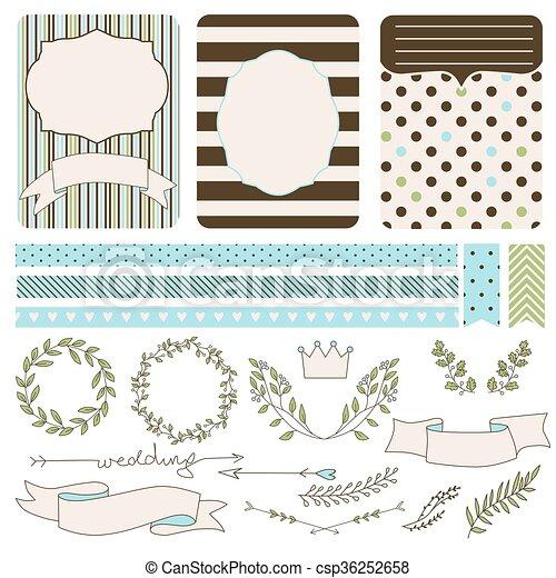 set of wedding elements for design - csp36252658