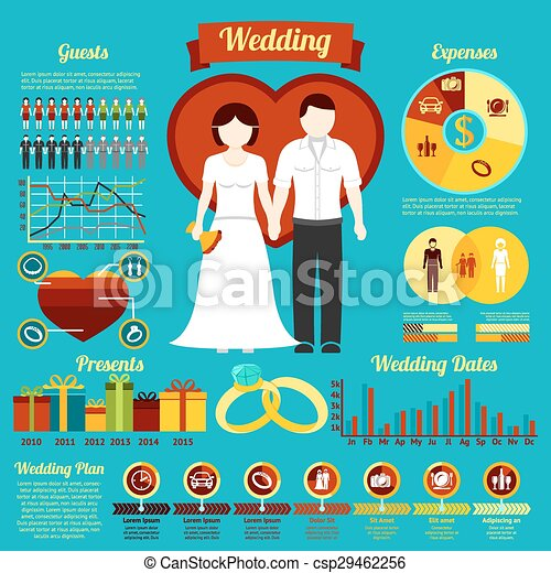 Set of wedding infographics and elements for invitation, presentation, congratulation etc. Vector - csp29462256