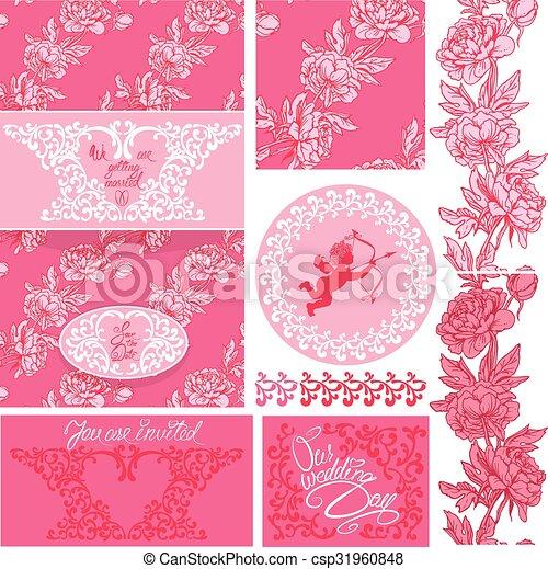 Set of wedding invitation card with floral elements frames eps