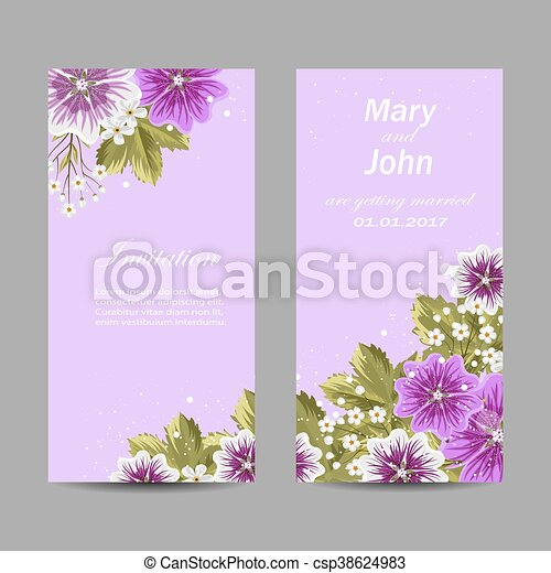 Set of wedding invitation cards design. - csp38624983