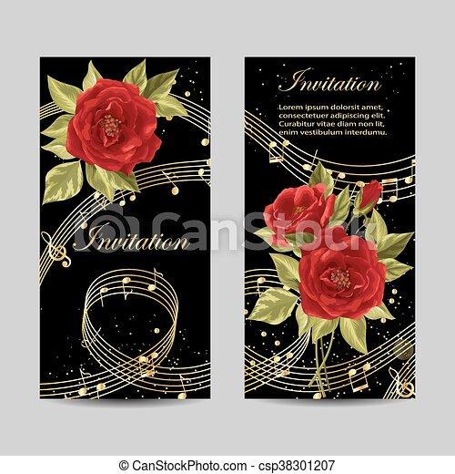 Set of wedding invitation cards design. - csp38301207