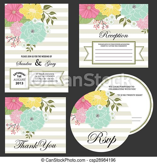Set of wedding invitation cards eps vectors search clip art set of wedding invitation cards csp28984196 stopboris Images