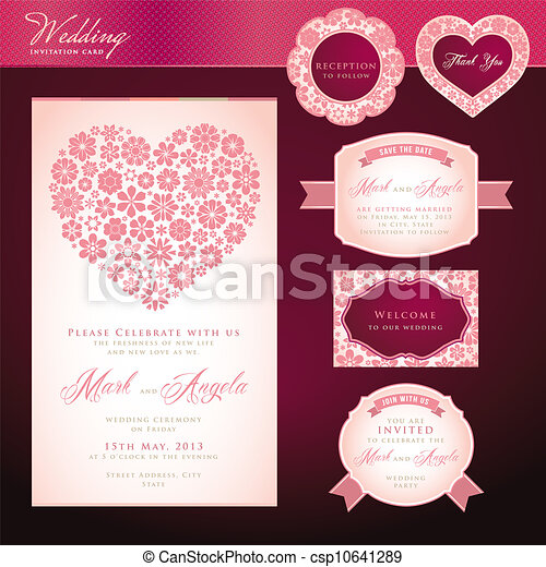 Set of wedding invitation cards wedding invitation card and elements set of wedding invitation cards csp10641289 stopboris Image collections