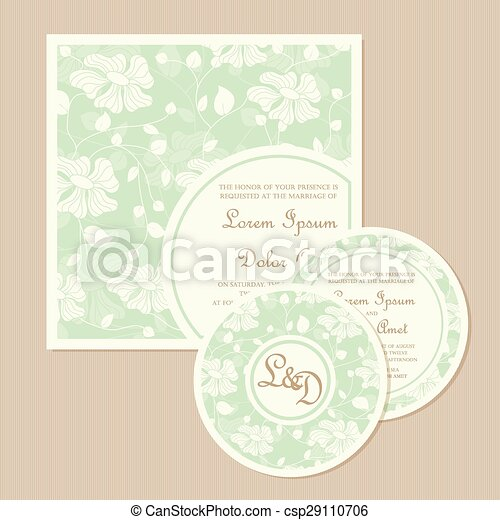 Set of wedding invitation cards - csp29110706