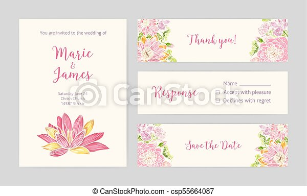 set of wedding party invitation save the date card response and thank you note templates with