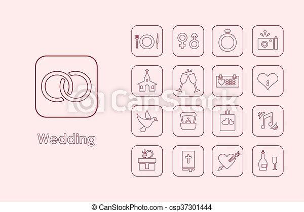 Set of wedding simple icons - csp37301444