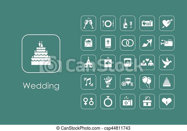 Set of wedding simple icons - csp44811743