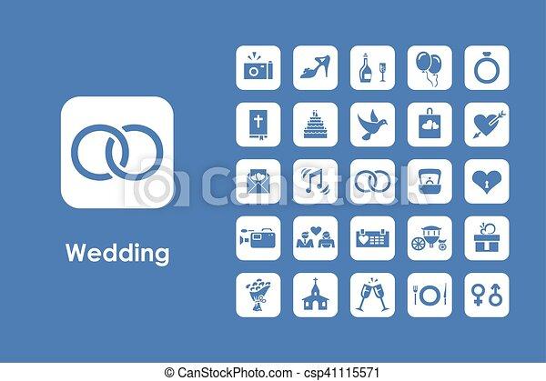 Set of wedding simple icons - csp41115571