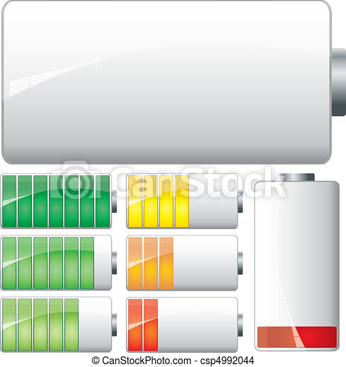 Set of White Batteries charge showing stages of power running low and full, vector - csp4992044