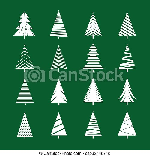 Christmas Tree Vector.Set Of White Geometric Christmas Tree Vector Illustrations