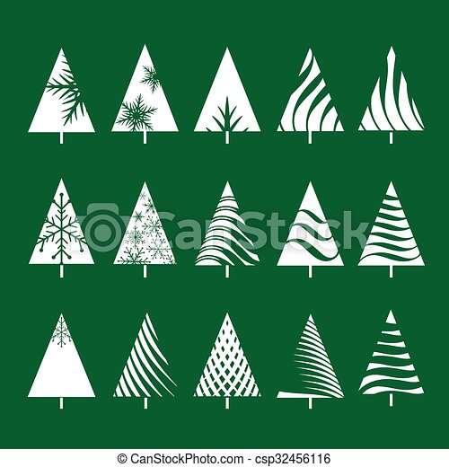 set of white geometric christmas tree vector illustrations