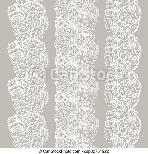 Set of white lacy vintage elegant trim. - csp32751922